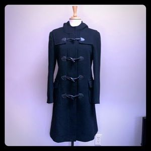 Black wool cashmere blend hooded toggle coat